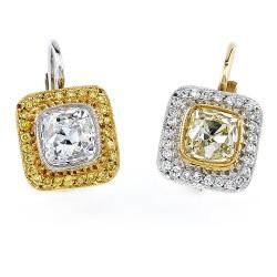 RICARDO BASTA-diamants blancs-diamants jaunes -boucles d'oreilles