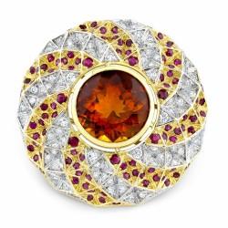 RICARDO BASTA-diamants-citrine-rubis-broche