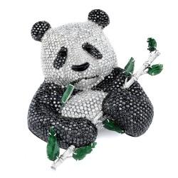 RICARDO BASTA-diamants noirs-diamants blancs-jadeite-broche