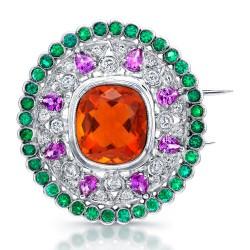 RICARDO BASTA-diamants-opale de feu-saphirs violets-tsavorites-broche