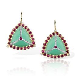 RICARDO BASTA-diamants-rubis-calcedoine-boucles d'oreilles