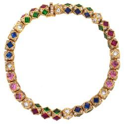 RICARDO BASTA-diamants-rubis-saphirs bleus-saphirs roses-tsavorites-bracelet