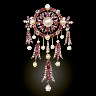 #Ruby #Pearl #Diamond #Brooch #Pendant #French #Circa.1890