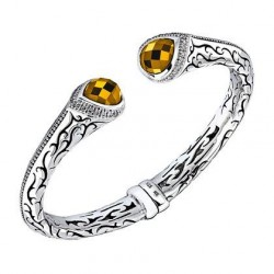 SCOTT KAY-Citrine-diamants-Hinged Cuff Bracelet