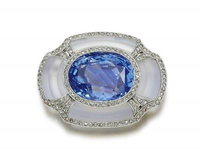 #Sapphire #Moonstone #Diamond #Brooch #1920s