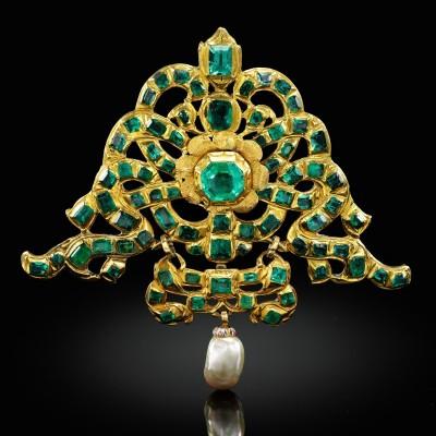 #Spanish #17thCentury #Pendant #Emeralds  #Emeraudes #Pearl #perle