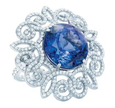 TIFFANY & Co-Anniversary-platinum-ring-tanzanite-diamonds.