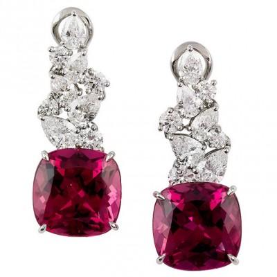 TIFFANY & Co-Boucles d'oreilles-diamants-rubellite