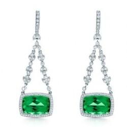 TIFFANY & Co-Boucles d'oreilles-tourmaline verte-diamants