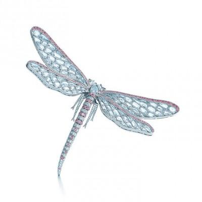 TIFFANY & Co-Broche libellule-diamants blancs-diamants roses