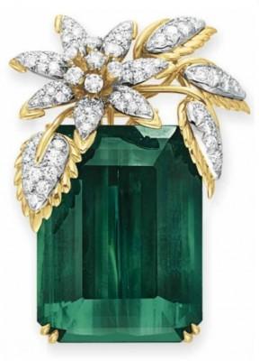 TIFFANY & Co-Broche quatre feuilles-tourmaline-diamants-JEAN SCHLUMBERGER