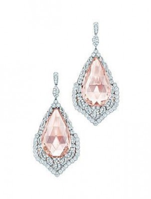 TIFFANY & Co-Collection 2013 Blue Book-Boucles d'oreilles-Morganite-diamants-platine-or rose