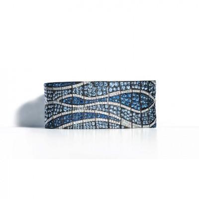 TIFFANY & Co-Collection Blue Book-Bracelet flexible-platine rhodié-saphirs du Montana-saphirs-diamants