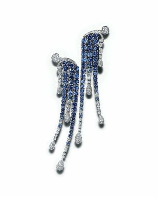 TIFFANY & Co-Collection Blue Book-boucles d'oreilles-or blanc-saphirs-diamants