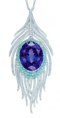 TIFFANY & Co-Pendentif Peacock-tanzanite-tourmalines-diamants