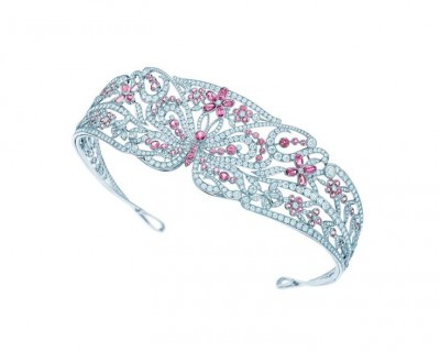 TIFFANY & Co-Tiare-collection Blue Book-platine-spinelles roses-diamants Co