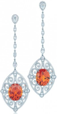 TIFFANY & Co-earrings-spessartites-diamants-platine-2013-blue Book Collection.