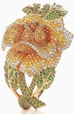 TIFFANY & Co-tsavorites-Rose Bracelet-diamants jaunes-diamants blancs-spessartites