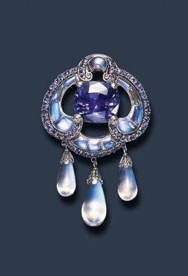 TIFFANY-Sapphire and Moonstone Brooch by Louis Comfort Tiffany & Co, c. 1910-15