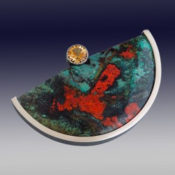 VAATZ Wolgang-Brooch in massive cuprite chrysocolla partially oxidized sterling silver citrine