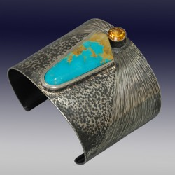 VAATZ Wolgang-Cuff in sterling silver, oxidized, turquoise, citrine