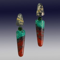VAATZ Wolgang-Earrings cuprite chrysocolla with fused 14k &18k gold fused on sterling silver, oxidized chrome diopsides