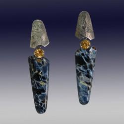 VAATZ Wolgang-Earrings in Pietersite, oxidized Sterling silver, citrines