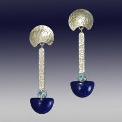 VAATZ Wolgang-Earrings in lapis lazuli, sterling silver, sky blue topaz