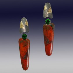 VAATZ Wolgang-Earrings in massive cuprite chrysocolla, with fused 22k gold fused on sterling silver, oxidized chrome diopsides