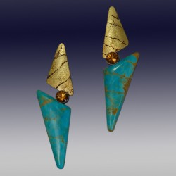 VAATZ Wolgang-Earrings in turquoise, with 18k gold fused on sterling silver, oxidized citrines