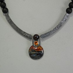 VAATZ Wolgang-Necklace in pietersite, black frosted onyx and oxidized & repolished sterling silver,golden citrine