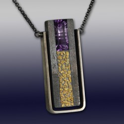 VAATZ Wolgang-Pendant in partially oxidized sterling argentium silver, gold nuggets fused, amethyst
