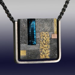 VAATZ Wolgang-Pendant in partially oxidized sterling silver, gold nuggets & rose gold fused, London blue topaz