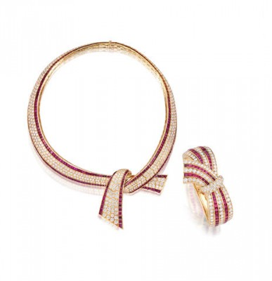 VAN CLEEF AND ARPELS-bangle-necklace-ruby-diamond