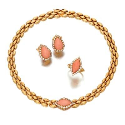 #VAN CLEEF & ARPELS #Coral #diamond #corail #diamant #gold #parure