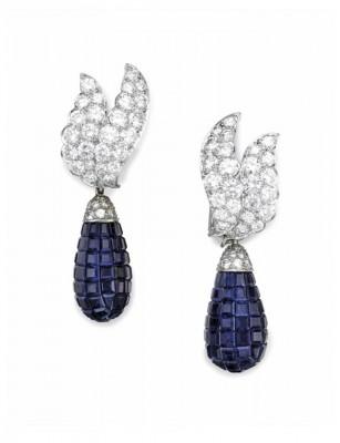 #VAN CLEEF & ARPELS #Earrings #Sapphires #Diamonds #Saphir #Diamant #1960