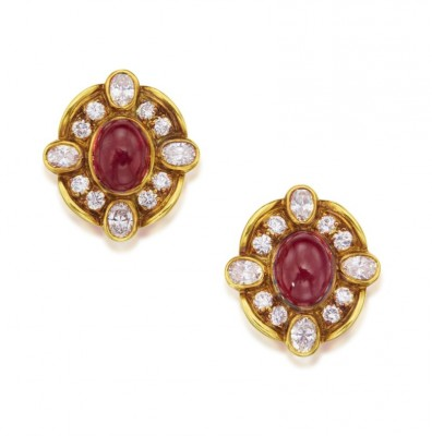#VAN CLEEF & ARPELS #Gold #Ruby #Diamond #Earclips #Or #rubis #diamant #Clips d'oreilles