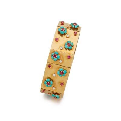 #VAN CLEEF & ARPELS #Gold #Turquoise #Ruby #Diamond #Rubis #Diamant #'Hawaii' Bracelet