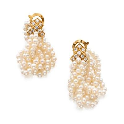 #VAN CLEEF & ARPELS #Pair of Seed Pearl and Diamond Earclips, France