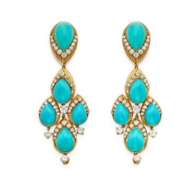 #VAN CLEEF & ARPELS #Pair of Turquoise and Diamond Pendant-Earclips