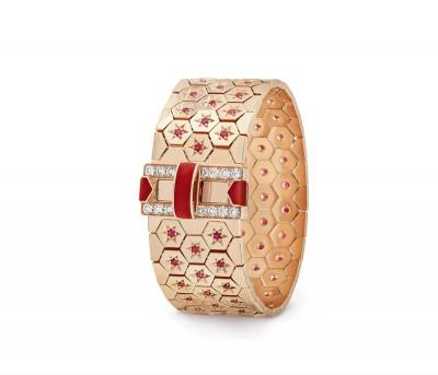 #VAN CLEEF & ARPELS #Rose gold bracelet #diamond #ruby #coral #Diamant #Rubis #Corail