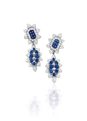 #VAN CLEEF & ARPELS #Sapphire #Diamond # #Diamant #Saphir #Or #Gold #Earrings
