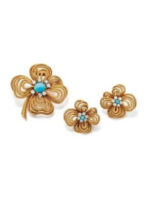 #VAN CLEEF & ARPELS #Turquoise, Diamond and Gold Brooch and Earring Set