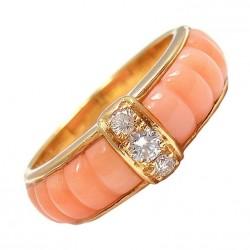VAN CLEEF & ARPELS-diamant-corail bleu-or jaune-bague