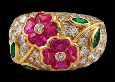 VAN CLEEF & ARPELS-diamant-emeraude-saphir rose-bague