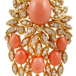 VAN CLEEF & ARPELS-diamants-corail-broche