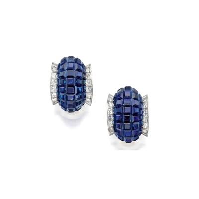 VAN CLEEF & ARPELS-earrings-sapphire-diamond