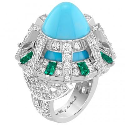 #VAN CLEEF and ARPLES #Ring #whiteGold #Diamonds #Turquoise #Emeralds #2021