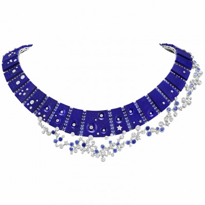 #VAN CLEEF and ARPLES #necklace #whiteGold #LapisLazuli #Saphire #Diamonds #2021
