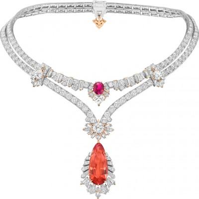 #VAN CLEEF and ARPLES #necklace #whiteGold #Topaz #Rubellite #Diamonds #2021